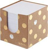 Бяло хартиено кубче с картонена поставка - Pure Glam