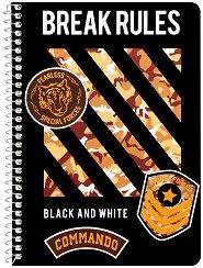 Ученическа тетрадка със спирала - Break Rules Формат B5 с широки редове -