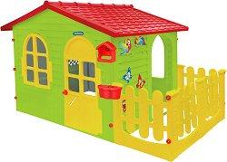 Детска сглобяема къща с ограда и дъска за рисуване -