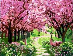 Рисуване по номера с акрилни бои - Вишнева градина