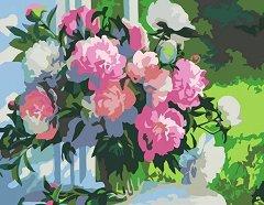 Рисуване по номера с акрилни бои - Божури