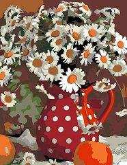 Рисуване по номера с акрилни бои - Букет от маргаритки