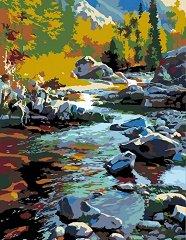 Рисуване по номера с акрилни бои - Планински поток