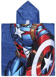 Детски халат тип пончо - Капитан Америка - раница