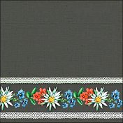 Салфетки за декупаж - Баварски цветя на сив фон