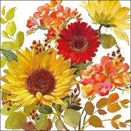 Салфетки за декупаж - Летни цветя на кремав фон