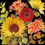 Салфетки за декупаж - Летни цветя на черен фон