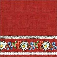 Салфетки за декупаж - Баварски цветя на червен фон
