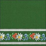 Салфетки за декупаж - Баварски цветя на зелен фон