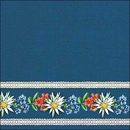 Салфетки за декупаж - Баварски цветя на син фон
