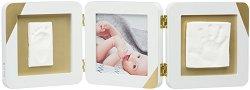 Дървена рамка за снимка и два отпечатъка - Gold Dipped Frame Double White -