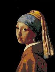 Рисуване по номера с акрилни бои - Момичето с перлената обица: Вермер