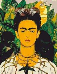 Рисуване по номера с акрилни бои - Автопортрет с трънена огърлица и колибри: Фрида Кало