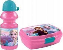 Комплект бутилка и кутия за храна - Елза и Анна - играчка