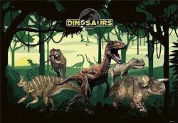 Двустранна подложка за бюро - Динозаври