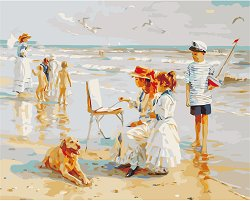 Рисуване по номера с акрилни бои - Деца на брега на морето