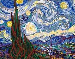 Рисуване по номера с акрилни бои - Звездна нощ