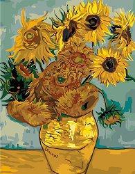 Рисуване по номера с акрилни бои - Слънчогледи