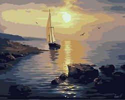 Рисуване по номера с акрилни бои - Лодка в залива