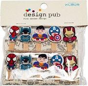 Декоративни дървени щипки - Superheroes