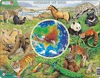 Животните на Азия - Образователен пъзел в картонена подложка -
