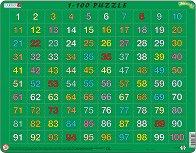 Числата от 1 до 100 - Пъзел в картонена подложка - пъзел