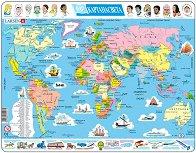 Карта на света - Образователен пъзел в картонена подложка -