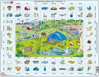 Научи английски език IV - Пъзел в картонена подложка -