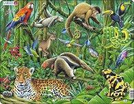Животните в тропическата гора - Пъзел в картонена подложка - пъзел
