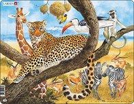 Африкански животни - Пъзел в картонена подложка - пъзел