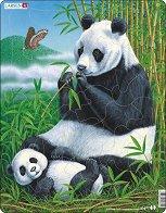 Панда с малкото си - Пъзел в картонена подложка - пъзел