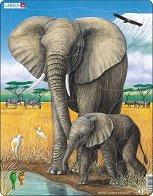 Слонове - Пъзел в картонена подложка - пъзел