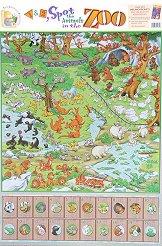 Spot the Animals in the Zoo - стенно учебно табло на английски език - 52 x 77 cm -