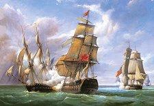 Битка между френска фрегата и английски кораб - пъзел