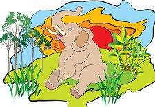 Африкански животни - Слон - пъзел