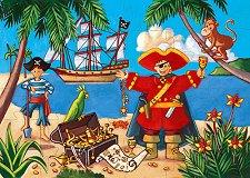 Пират и съкровище - Детски пъзел в кутия с нестандартна форма -