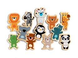 Весели животни - Дванадесет дървени фигури с магнит - играчка