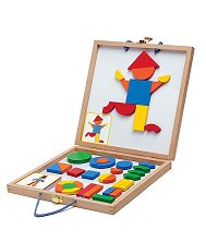Геоформи - Дървени фигури с магнит - играчка