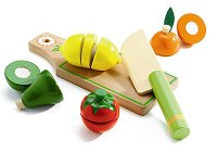 Дъска за рязане с продукти - Комплект дървени фигури - играчка