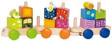 Шареният влак - Дървена играчка за нареждане - играчка