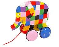 Шареното слонче Елмър - Дървена играчка на колелца -