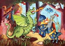 Рицарят на дракона - Детски пъзел в кутия с нестандартна форма - пъзел