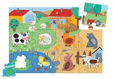 Животните в селскостопанския двор - Голям детски пъзел - пъзел