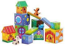 Къщички за животни - Комплект кубчета и животни  -