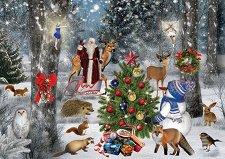 Дядо Коледа с горските животни - пъзел