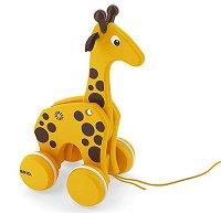 Жираф - Дървена играчка на колелца - играчка