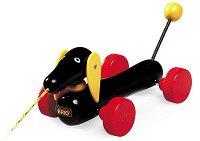 Куче - Дакел - Дървена играчка на колелца - играчка