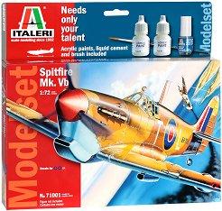 Военен самолет - Spitfire MK.VB - Сглобяем авиомодел - комплект с лепило и бои - макет