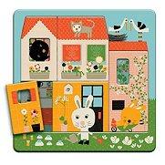 Къщата на зайчето - Детски дървен пъзел на три нива - пъзел