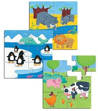 Животни - Три детски пъзела с дървени елементи -